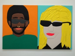 """Sunglasses Person 1,"" 2016 Wood, aqua resin, casein, and acrylic gouache 61"" H x 48"" W and ""Sunglasses Person 2,"" 2016 Wood, aqua resin, casein, and acrylic gouache 61"" H x 48"" W. Sadie Benning. Blinded by the Light. Susanne Vielmetter Los Angeles Projects. Installation View. Photo Credit Jody Zellen."