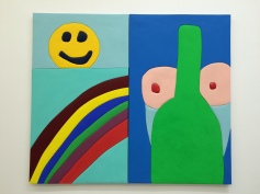 """""""Smiley Face,"""" 2016, Wood, aqua resin, casein, acrylic gouache, and Euro Lux 60"""" H x 34"""" W and """"Bottle Boo,"""" 2016, Wood, aqua resin, casein, and acrylic gouache 60"""" H x 36"""" W. Sadie Benning. Blinded by the Light. Susanne Vielmetter Los Angeles Projects. Installation View. Photo Credit Jody Zellen."""