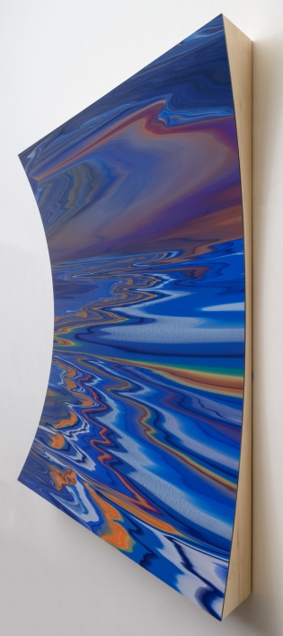 "Andy Moses: A 30 Year Survey. Santa Monica College, Pete and Susan Barrett Art Gallery. ""R.A.D. 1601"", 2015. Acrylic on polycarbonate mounted on horizontal parabolic concave wood panel. 60x84x7 inches. Photo Credit Alan Shaffer"