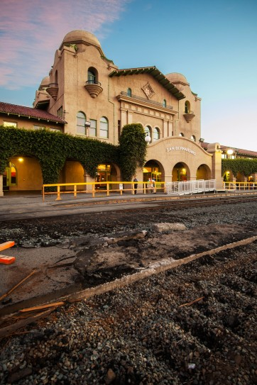 Riverside Art Museum. Spanish Colonial Revival of the Inland Empire. Douglas McCulloh, Santa Fe Depot, San Bernadino, 2015. Digital Photograph, Designed by W.A. Mohr, Opened 15 July, 1918, Collection of the Riverside Art Museum.
