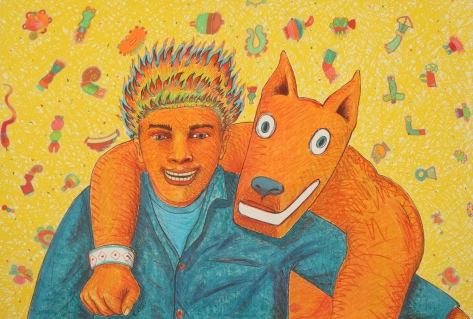 """UCI University Art Galleries. Aztlan to Magulandia: The Journey of the Chicano Artist Gilbert 'Magu' Lujan. Mingo and Fireboy, 1988, Lithograph with hand-marking in prismacolor, 44 1/4 x 30 inches. Cooyright The Estate of Gilbert """"Magu"""" Lujan."""