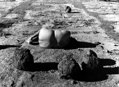 Vincent Prince Art Museum, East Los Angeles College, Laura Aguilar: Show and Tell. Laura Aguilar, Nature Self Portraits #12, 1992. Gelatin silver print, 16 x 20 inches. Photo Courtesy of the Artist and the UCLA Chicano Studies Research Center.