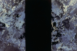 """Andy Moses: A 30 Year Survey. Santa Monica College, Pete and Susan Barrett Art Gallery. """"Void"""" 1987. Acrylic and Alkyd on canvas. 60x90 inches. Collection of the artist. Photo Credit Alan Shaffer"""