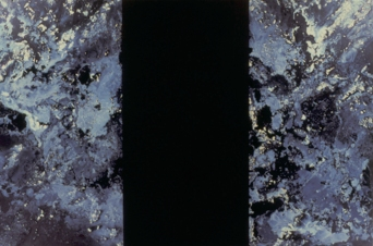 "Andy Moses: A 30 Year Survey. Santa Monica College, Pete and Susan Barrett Art Gallery. ""Void"" 1987. Acrylic and Alkyd on canvas. 60x90 inches. Collection of the artist. Photo Credit Alan Shaffer"
