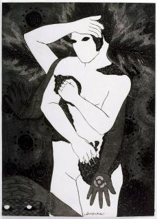 Belkis Ayón, Arrepentida (Repentant), 1993 Collograph. Nkame: A Retrospective of Cuban Printmaker Belkis Ayón Fowler Museum at UCLA, Photo Courtesy of the Fowler Museum.