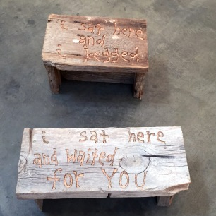 """Waiting for You, 2016 carved wood from fallen down windmill 8.5 x 22 x 10"""". Michael Deyermond: This is my heart, please don't use it against me. Craig Krull Gallery. Photo Credit Shana Nys Dambrot."""