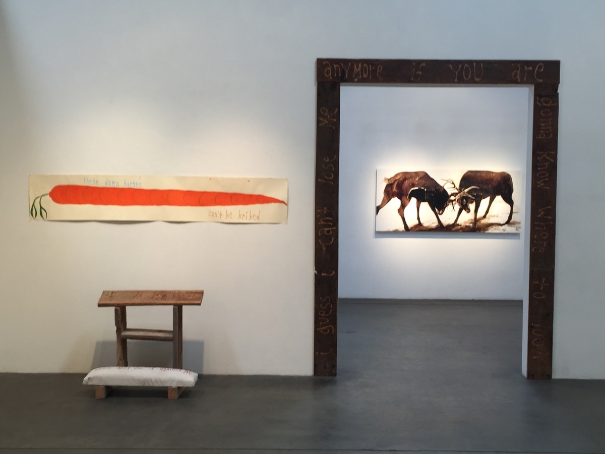Installation view_carved door frame and James Griffith in the outer ...