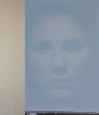"Roni Stretch Daisy, light purple, sky, 2015 oil on canvas linen 44 x 50"" © Roni Stretch 2015. Image courtesy of the artist. About Face. Kellog University Art Gallery."
