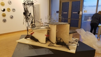 Chenhung Chen / Saraswati- Snezana Petrovic (a collaborative project) Quixotic Poser wire, electrical components, wood, clamps, zip ties. Parallels: Medicine = Art. Crafton Hills College Art: Eyes on Healing. Crafton Hills College Art Gallery. Photo Credit Jacqueline Bell Johnson.
