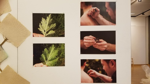 Felip Caudet. Mogusa Moxibustion Photographic series. Parallels: Medicine = Art. Crafton Hills College Art: Eyes on Healing. Crafton Hills College Art Gallery. Photo Credit Jacqueline Bell Johnson.