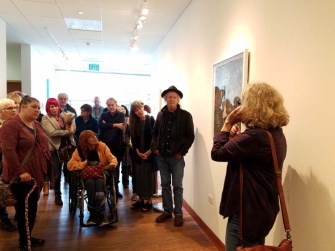 Randi Matushevitz. Personal Narrative. Artist Talk. Annenberg Community Beach House Gallery. Photo Credit Kristine Schomaker.