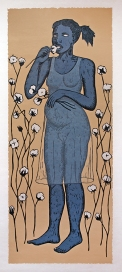 Alison Saar Cotton Eater II, 2014 Woodcut on Chine collé 77 x 38 inches framed Courtesy of the Artist and L.A. Louver