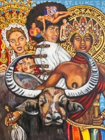 ICONIC: Black Panther. Gregorio Escalante Gallery, Los Angeles, CA. Lili Bernard Self-Portrait in Straight Jacket Surround by 7 Potencias Africanas with Kathleen Cleaver as La Virgen de La Candelaria and Assata Shakur as La Orisha Oya-Yansa 2017 Oil on canvas. Photo Courtesy of Sepia Collective and The Artist.