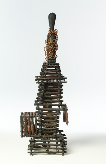 Betye Saar Cage (In the Beginning), 2006 Mixed media assemblage 42 x 15 x 12 inches Courtesy of the Artist and Roberts & Tilton, Los Angeles, California