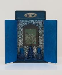 Betye Saar Indigo Illusions, 1991 Mixed media assemblage with neon 17.5 x 11.5 x 5 inches Courtesy of the Artist and Roberts & Tilton, Los Angeles, California