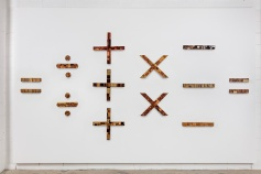 Installation View Brenna Youngblood (left to right) Untitled (equal sign), 2011 Untitled (division sign), 2011 Untitled (plus sign), 2011 Untitled (multiplication sign), 2011 Untitled (subtraction sign), 2011 Untitled (equal sign), 2011 Tree Dimensions Vary Courtesy of the Artist and Honor Fraser Photo: Joshua White/jwpictures.com