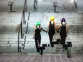 Diana Wyenn. Video Still. With Stephanie Aguilar, Lauren Campedelli and Mae Koo. Animating the Archives: The Woman's Building. Avenue 50 Studios, Highland Park. Photo Credit Shana Nys Dambrot.