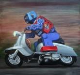 Eric Joyner: Tarsus Bondon Dot. Express Delivery. Oil on Panel. Photo Courtesy of Cory Helford Gallery.