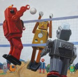 Eric Joyner: Tarsus Bondon Dot. Volleyball. Oil on Panel. Photo Courtesy of Cory Helford Gallery.