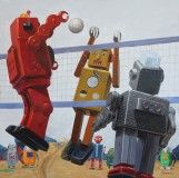 Eric Joyner: Tarsus Bondon Dot. Volleyball. Oil on Panel. Photo Courtesy of Cory Helford Gallery.