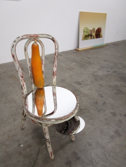 Heather Rasmussen - Untitled (Chair with zucchini on mirror and abalone seat). ACME Gallery. Photo Credit Patrick Quinn.
