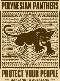 ICONIC: Black Panther. Gregorio Escalante Gallery, Los Angeles, CA. Lexx Valdez and Jean Melesaine From Oakland to Auckland 2017 Digital luster print. Photo Courtesy of Sepia Collective and The Artist.