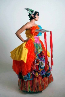 Marissa Magdalena. Quince Quince Dress. Wearable Art. Animating the Archives: The Woman's Building. Avenue 50 Studios, Highland Park. Photo Courtesy of the Artist.