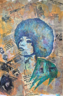ICONIC: Black Panther. Gregorio Escalante Gallery, Los Angeles, CA. Tatiana El-Khouri Angela Davis 2017 Mixed media on canvas. Photo Courtesy of Sepia Collective and The Artist.