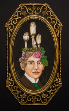 """Lezley Saar. A Perfect Gentleman, 2016, acrylic on fabric on panel, antique frame, 27"""" x 15"""". Courtesy of Walter Maciel Gallery. Photo Credit: August Agustsson."""