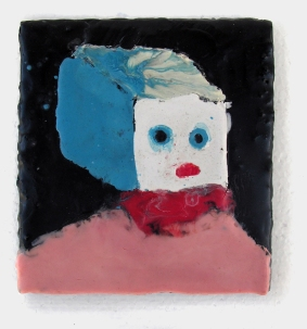 "Blockhead encaustic on wood 5.5"" x 6"" 2008. Don Procella. Everything Must Go. Noysky Projects. Photo Courtesy of Noysky Projects."