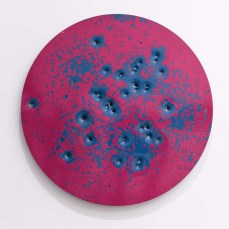Caliber Abstractions. Nicolas Hunt. Photo Courtesy of Mugello Gallery. Caliber Abstraction Marigold Yellow on Blue #1 2017 48 inches diameter oil based enamel on anodized aluminum.