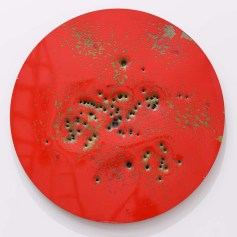 "Caliber Abstractions. Nicolas Hunt. Photo Courtesy of Mugello Gallery. ""Caliber Abstraction Apple Red on Gold #1"" 2016 48 inches diameter oil based enamel on anodized aluminum."