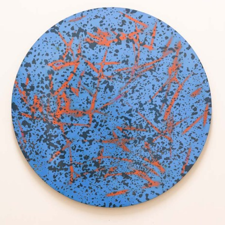Caliber Abstractions. Nicolas Hunt. Photo Courtesy of Mugello Gallery. Caliber Abstraction Many Mahalos KP 2017 48 inches diameter oil based enamel on anodized aluminum.