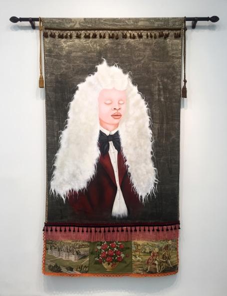"Lezley Saar. I dream the body, 2017, acrylic on fabrics with fringing, braided tassels, curtain rod, 101"" x 55"", Courtesy of Walter Maciel Gallery. Photo Credit: August Agustsson."