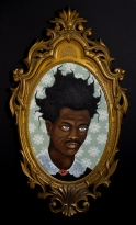 """Lezley Saar. Living Inside Out, 2016, acrylic on fabric on panel, antique frame, 33"""" x 18 1/2"""", Courtesy of Walter Maciel Gallery. Photo Credit: August Agustsson."""