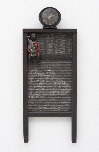 Betye Saar: Keeping it Clean. Craft and Folk Art Museum. Dark Times, 2015 Mixed media on vintage washboard, clock Courtesy of the artist and Roberts & Tilton, Los Angeles, CA Photo: Robert Wedemeyer.