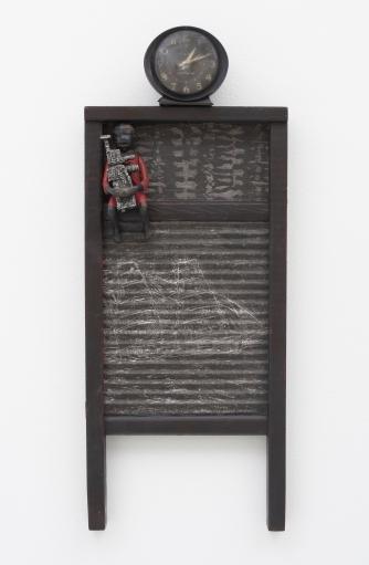 Betye Saar: Keeping it Clean. Craft and Folk Art Museum. Dark Times, 2015 Mixed media on vintage washboard, clock Courtesy of the artist and Roberts & Tilton, Los Angeles, CA Photo: Robert Wedemeyer.
