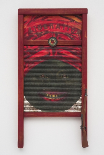 Betye Saar: Keeping it Clean. Craft and Folk Art Museum. Liberation, 2011 Mixed media on vintage washboard Collection of Sheila Silber Courtesy of the artist and Roberts & Tilton, Los Angeles, CA.