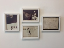 Joe Ray: Complexion Constellation. Diane Rosenstein Gallery. Installation of Double Diamond at MOCA Houston-1976-three vintage framed c-prints -- Art is Energy-1979-ink, tape, paper. Photo Credit Shana Nys Dambrot.