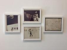 Joe Ray: Complexion Constellation. Diane Rosenstein Gallery. Installation of Double Diamond at MOCA Houston-1976-three vintage framed c-prints -- Art is Energy-1979-ink, tape, paper. Photo Credit Shana Nys Dambrot.