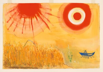 Marc Chagall, Study for Backdrop for Aleko: A Wheatfield on a Summer's Afternoon (Scene III), 1942, gouache, watercolor, and graphite on paper, 15 1/4 × 22 1/2 in., Museum of Modern Art, New York, acquired through the Lillie P. Bliss Bequest, 1945, © 2017 Artists Rights Society (ARS), New York/ADAGP, Paris, digital image © 2017 The Museum of Modern Art/licensed by SCALA/Art Resource, NY