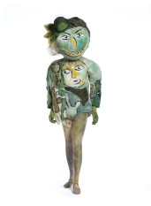 Marc Chagall, Costume for The Magic Flute: Green-Faced Monster (with Reproduction Mask), 1967, cotton knit, painted, with synthetic/lurex plain weave appliqués, silk plain weave (chiffon) appliqués, synthetic knit, painted, and papier-mâché, Metropolitan Opera Archives, New York, © 2017 Artists Rights Society (ARS), New York/ADAGP, Paris, photo © 2017 Museum Associates/LACMA