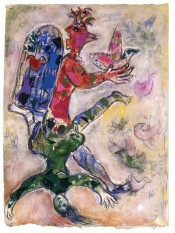 Marc Chagall, Variation on the Theme of The Magic Flute: Papageno, 1966–67, watercolor, gouache, ink, and fabric collage on Japan paper, 24 3/16 × 17 11/16 in., private collection, © 2017 Artists Rights Society (ARS), New York/ADAGP, Paris, photo © 2017 Archives Marc et Ida Chagall, Paris