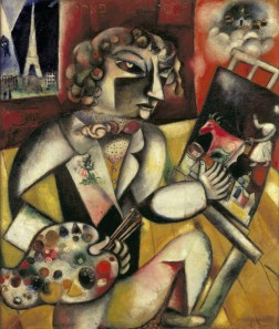Marc Chagall, Self-Portrait with Seven Fingers, 1912, oil on canvas, 49 5/8 × 42 5/16 in., Stedelijk Museum, Amsterdam, on loan from the Cultural Heritage Agency of the Netherlands, © 2017 Artists Rights Society (ARS), New York/ADAGP, Paris, photo: Banque d'images, ADAGP/Art Resource, NY