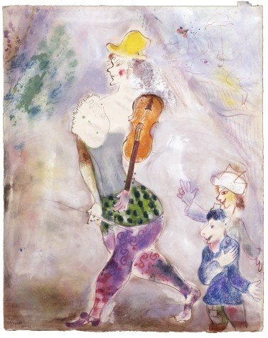 Marc Chagall, Clown Playing the Violin, 1941–42, gouache, gouache wash, pastel, colored ink, colored pencil, and graphite on paper, 24 3/8 × 19 5/16 in., private collection, © 2017 Artists Rights Society (ARS), New York/ADAGP, Paris, photo © 2017 Archives Marc et Ida Chagall, Paris