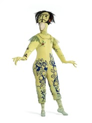Marc Chagall, Costume for The Firebird: Blue-and-Yellow Monster from Koschei's Palace Guard, 1945, wool/synthetic knit with polyurethane, wool/synthetic knit appliqués, wood beads, silk plain weave (chiffon), and animal hair, New York City Ballet, New York, © 2017 Artists Rights Society (ARS), New York/ADAGP, Paris, photo © 2017 Museum Associates/LACMA