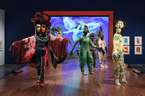 Installation photograph, Chagall: Fantasies for the Stage, from The Firebird, Los Angeles County Museum of Art, July 31, 2017–January 7, 2018, © 2017 Artists Rights Society (ARS), New York / ADAGP, Paris, photo © Fredrik Nilsen.