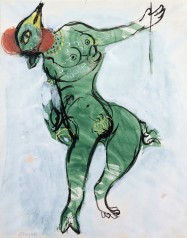 Marc Chagall, Costume Design for The Firebird: Green Monster, 1945, watercolor, gouache, and india ink on paper, 17 × 14 in., private collection, © 2017 Artists Rights Society (ARS), New York/ADAGP, Paris, photo © 2017 Archives Marc et Ida Chagall, Paris