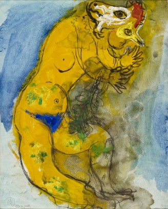 Marc Chagall, Costume Design for The Firebird: Yellow Monster with Double Profile, 1945, india ink, watercolor, graphite, and gouache on paper, 16 5/8 × 13 3/8 in., private collection, © 2017 Artists Rights Society (ARS), New York/ADAGP, Paris, photo © 2017 Archives Marc et Ida Chagall, Paris