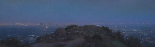 "City Lights from Griffith Park, 2015 oil on canvas 16 x 52"". Ann Lofquist. Photo Courtesy of Craig Krull Gallery."